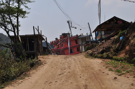 Damaged villages such as this was an all too common sight in the Nepali Himalayan foothills. This shot taken over a year after the earthquake of April 2015.