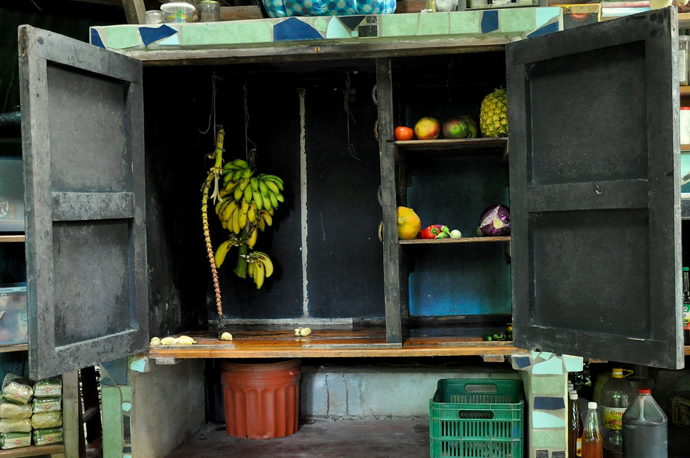 The 'fruit and veg cupboard ' at the Yoga Farm