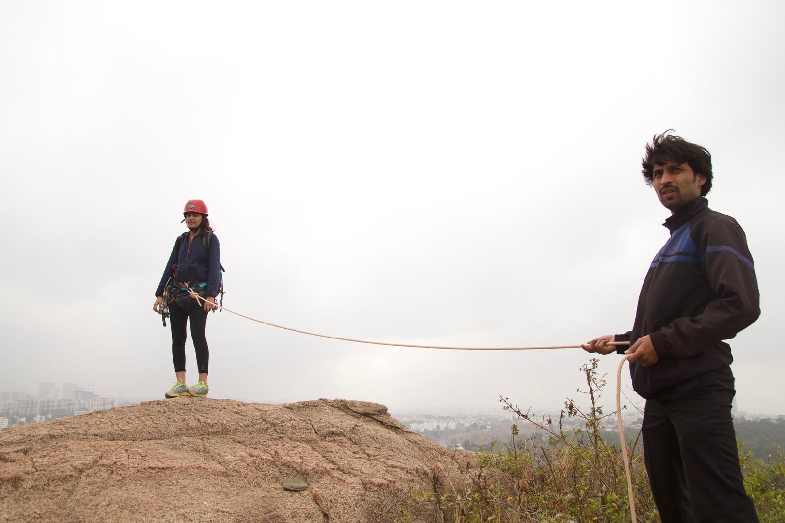 Mountain climbing on the sets of Mudita