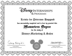 Walt Disney World Certificate of Completion