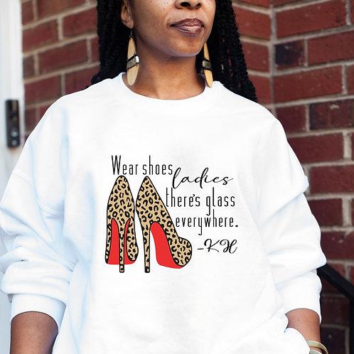 Kamala Harris   Wear Your Shoes Ladies    Women's Heavy Crewneck Sweatshirt
