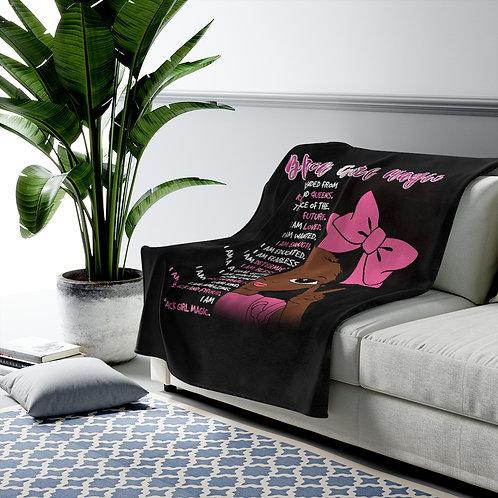 Black Girl Magic Throw | Velveteen Plush Blanket | Girls Princess Blanket