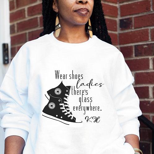 Kamala Harris VP | Wear Your Shoes Ladies Women's  Heavy Crewneck Sweatshirt