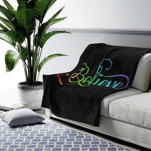 Believe Velveteen Plush Blanket Throw