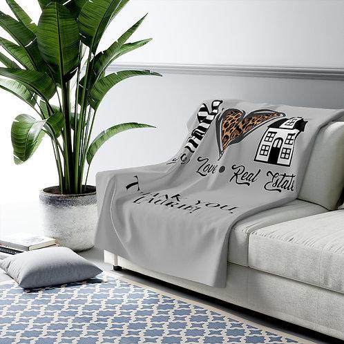 Peace Love Real-Estate Sherpa Fleece Blanket | Realtor Gift