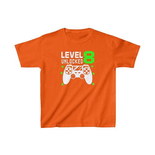 Birthday Gamer Shirt Level 8 | Girl Boy Gaming TShirt  | Kids Cotton T-Shirt