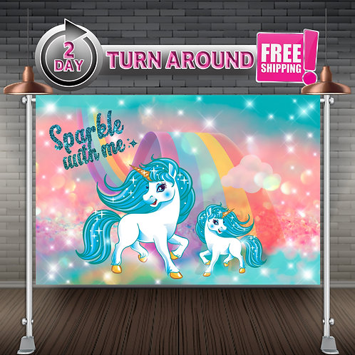 UNICORN RAINBOW Teal Printed Banner Backdrop   Birthday Party Supplies
