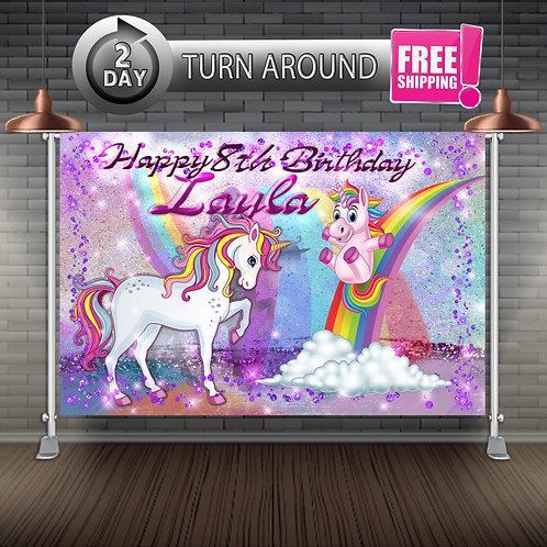 UNICORN RAINBOW Printed Banner Backdrop   Birthday Party Supplies