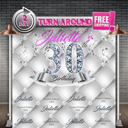 Printed | Overnight Shipping | Birthday Backdrop | 21st 30th 40th 50th