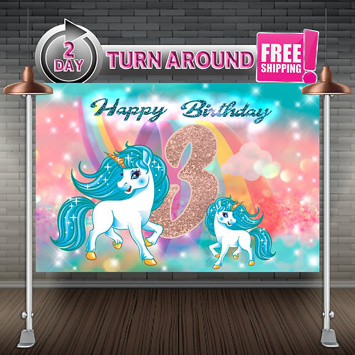 UNICORN RAINBOW Teal Printed Banner Backdrop | Birthday Party Supplies
