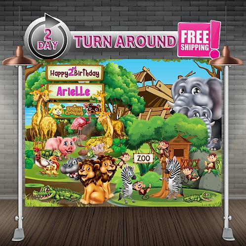 Animal Zoo Jungle Circus Birthday Girl Boy Banner Backdrop | Party Suppl