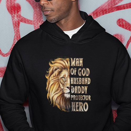 Man Of God - Husband - Daddy - Protector - Hero - Men's Hoodie