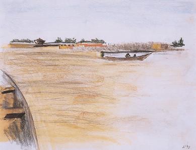 Barque et fleuve Niger,  collection particulière