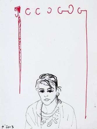 Jeune femme au rideau