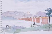 Etude pour le fleuve et le pont des Martyrs