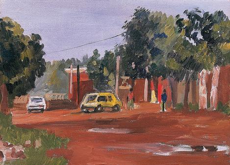 Voiture jaune, quartier Niarella à Bamako