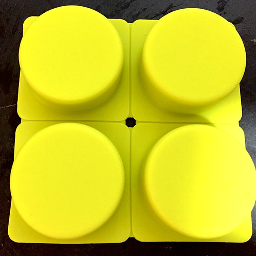 4 Cell/Cavity Round Puck Soap Mold (Yellow)