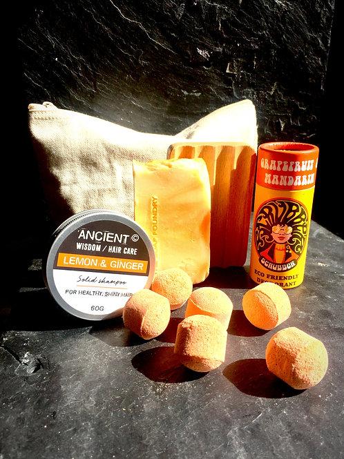 scrubber deodorant lemon and ginger solid shampoo zesty orange handmade soap bar and mini orange bath bombs natural wash bag