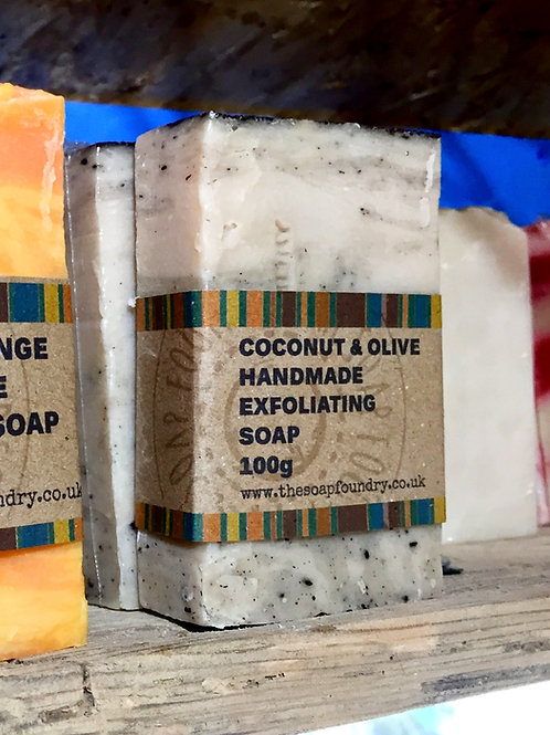 Coconut & Olive Oil Soap - 100G - with Ground Coconut Fibre