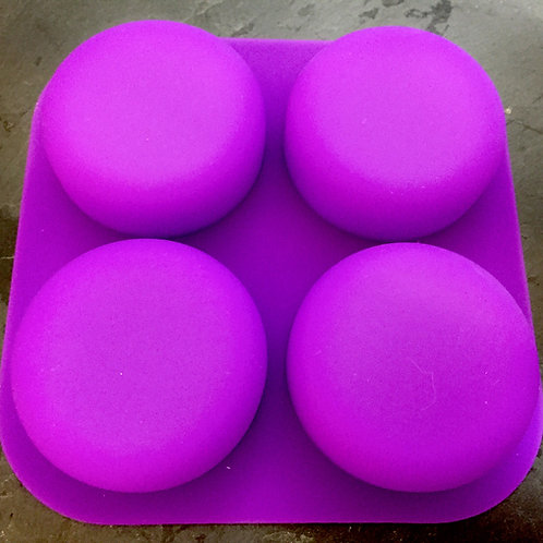 4 Cell/Cavity Round Pebble Silicone Mold (Purple)