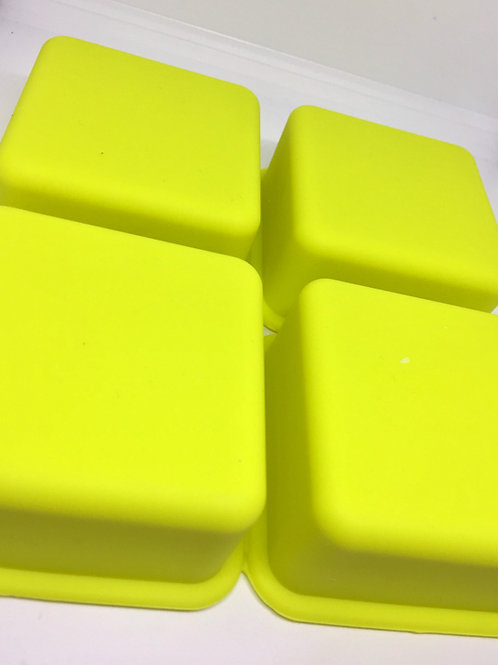 4 Cell/Cavity Square Puck Soap Mold (Yellow)