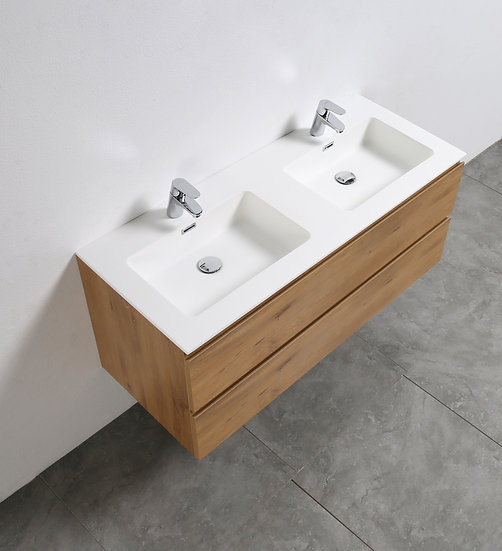 TEXAS 1200 clair - Meuble double vasque encastré SOLIDSTONE