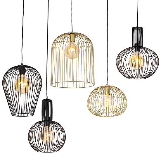 Ensemble de 5 lampes suspendue WIRES noires et dorées
