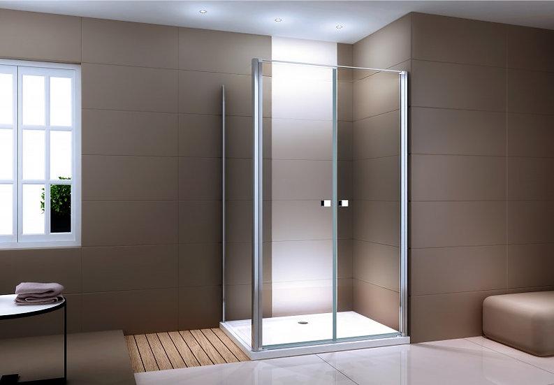 ORION EX416-2 - paroi de douche d'angle en verre fixe et porte battante