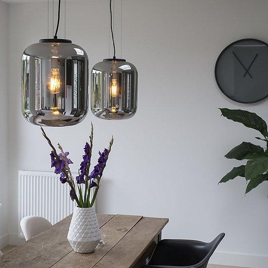 2 lampes suspendue BLISS noir 160cm avec verre fumé noir
