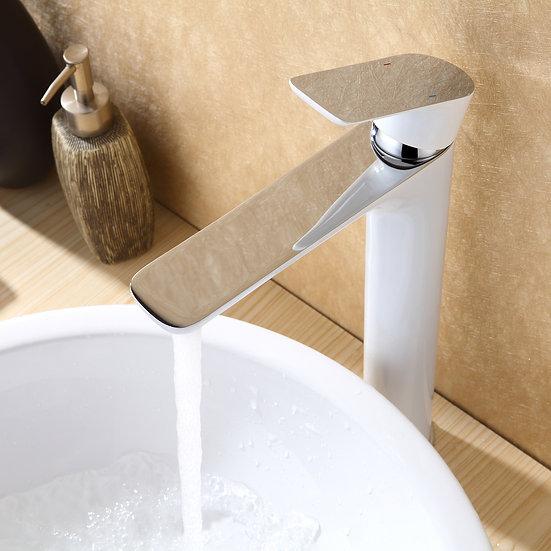 SALUZZO 4025 - Mitigeur lavabo ou vasque blanc brillant ou noir mat