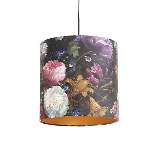 Suspension avec abat-jour en velours COMBI 40cm fleurs