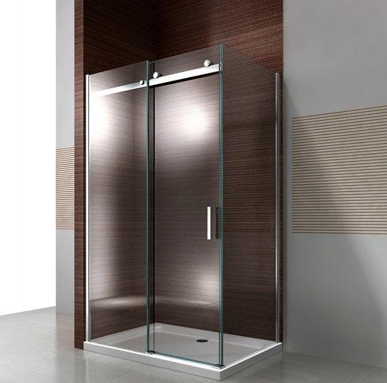 MISTY EX806 - paroi de douche d'angle en verre fixe et porte coulissante
