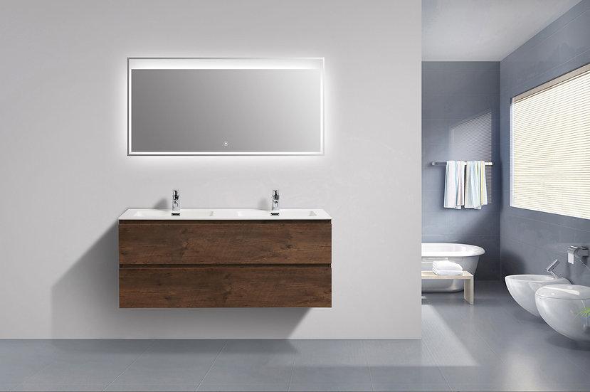 TEXAS 1200 foncé - Meuble double vasque encastré SOLIDSTONE