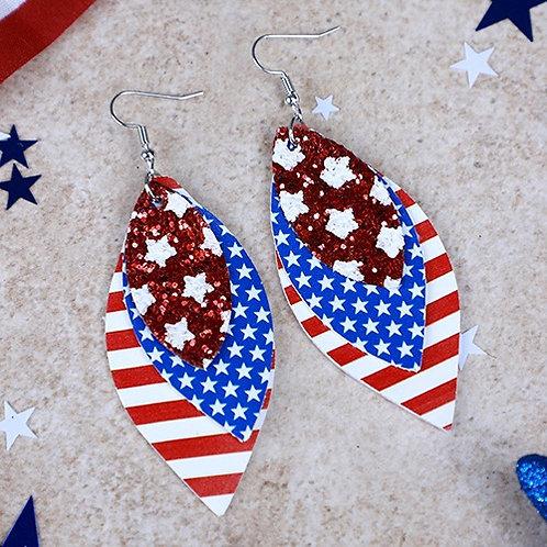 Layered Stars and Stripes Glitter Earrings