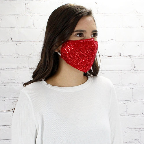 Sequin Mask Red