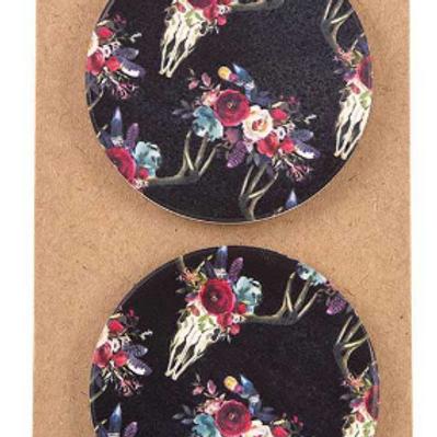 Floral Bull Car Coasters