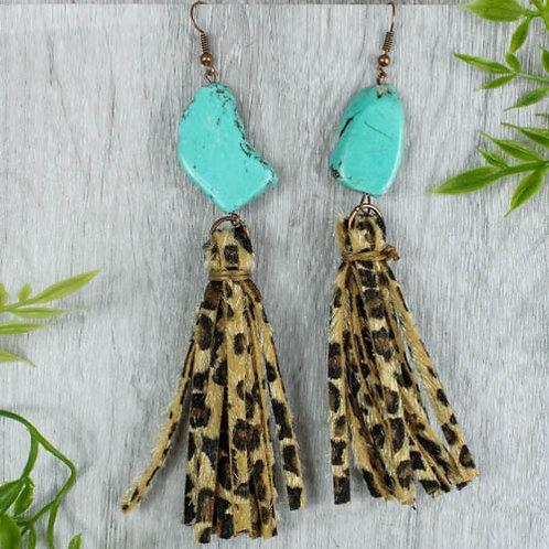 Turquoise & Leopard Tassel Earrings