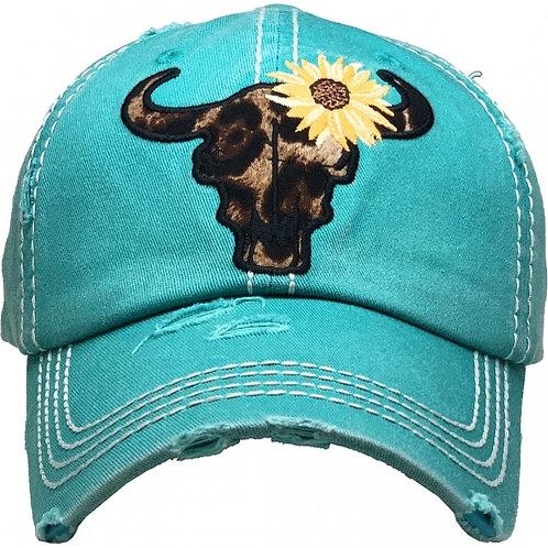 Leopard Cow Skull Sunflower Hat Turquoise