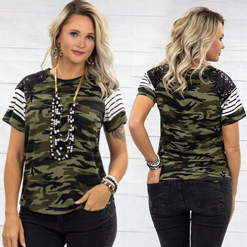 Half Sleeve Top with Sequin and Stripes - Camo