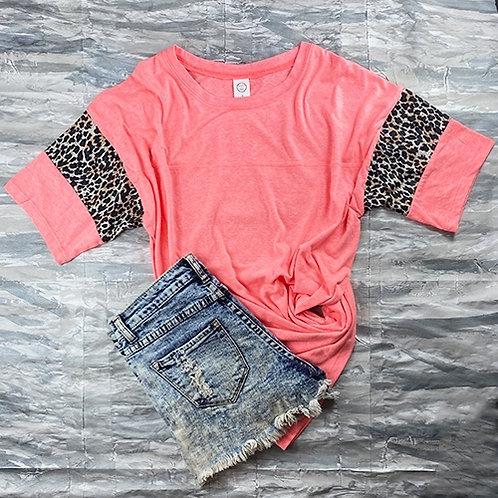 Short Sleeve Cheetah Print T-Shirt Hot Pink