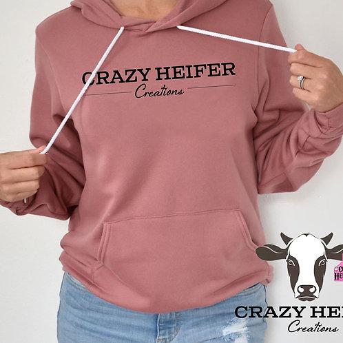 Crazy Heifer Hoodie With Black Glitter Text
