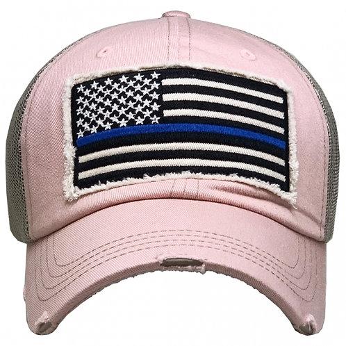Pink Blue Line Hat