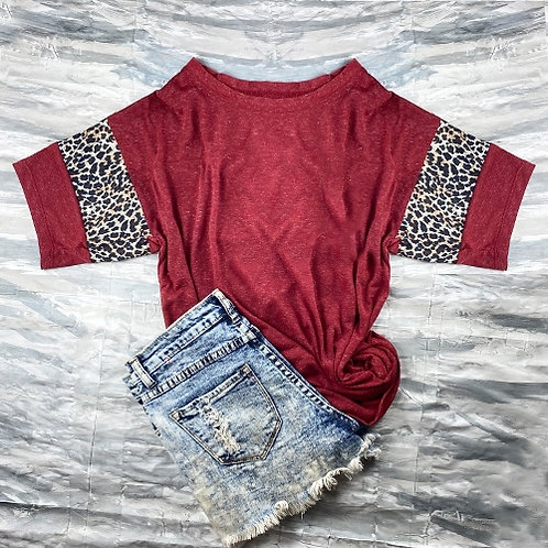 Short Sleeve Cheetah Print T-Shirt Burgundy