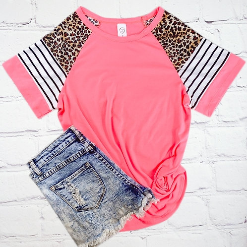 Stripes and Leopard Half Sleeve Top Pink