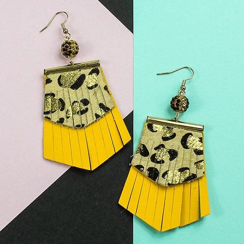LeopardFringe Earrings Yellow