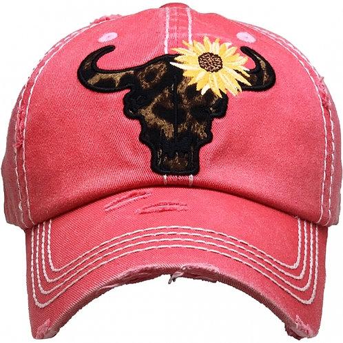 Leopard Cattle Skull Sunflower Hat