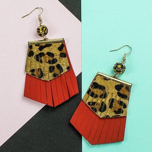LeopardFringe Earrings Red