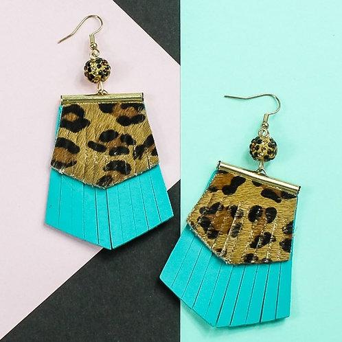 Leopard Fringe Earrings Turquoise