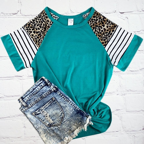Stripes and Leopard Half Sleeve Top Turquoise