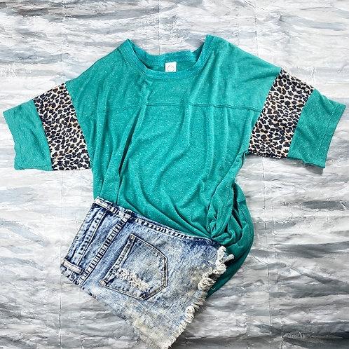 Short Sleeve Cheetah Print T-Shirt Turquoise
